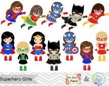 27 Superhero Girls Digital Clipart, Superhero Clip Art, Girl Superhero Clip Art, Little Girl Super Hero Clipart, Super Hero Clip Art, 00186