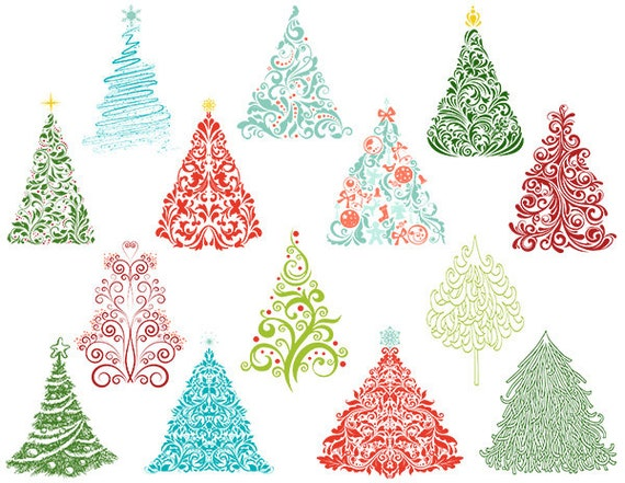 Christmas Tree Digital Clip Art Flourish Swirls Christmas Tree
