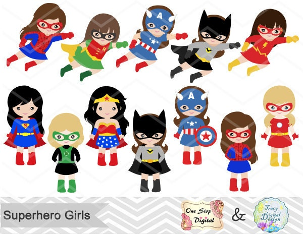 27 Superhero Girls Digital Clipart Superhero Clip Art Girl