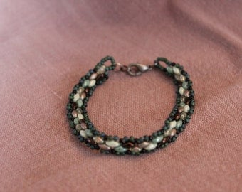 Earth Tones Beaded Bracelet with Hunter Green and Black Accents