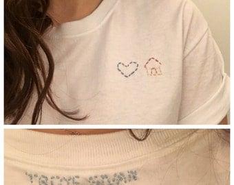Troye Sivan inspired Blue Neighbourhood emoji embroidered t-shirt