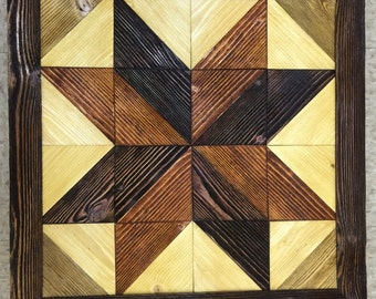 Barn quilt, distressed and stained