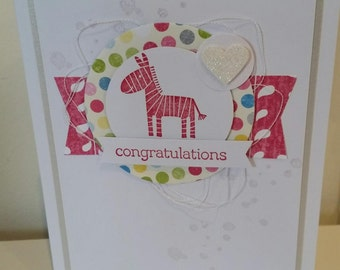 Handmade Card - Congrats Zebra on Pink/White/silver 10121