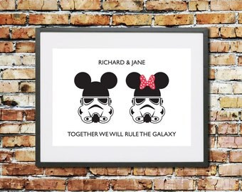 Disney Star Wars Stormtrooper Personalised Couples Wedding Art Print - Custom Mickey and Minnie Wall anniversary art gift