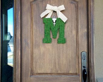 Moss covered letter hanger- BOTH sides covered!