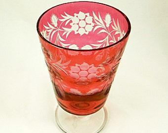 Tiffin Glassware Cranberry Glass Vase Mid Century Modern