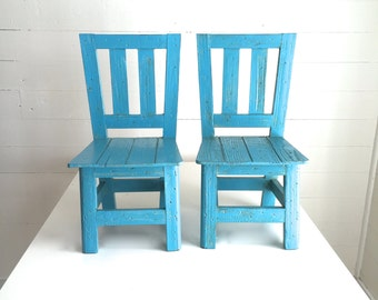 Vintage Chairs PAIR Of Painted Wood Chairs Child Sized Wood Chairs Turquoise  Blue Rustic Children Decor