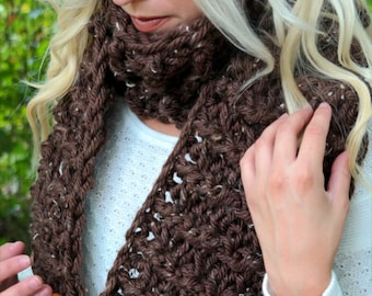Oversized Scarf with Buttons | Hand Crochet | Brown Color