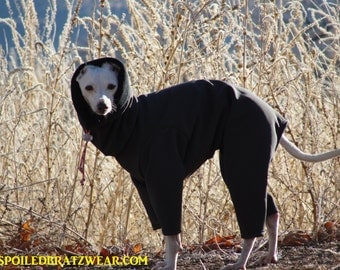 The Original Italian Greyhound Outdoor Suit with Snood Head Covering - Full Coverage Polartec® Dog Suit from Spoiled Bratzwear