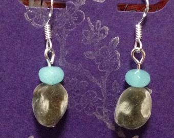 Hawaiian Mgambo Seed and Aquamarine Sterling Silver Earrings