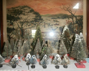 Vintage Christmas bottle brush trees large lot 28 various sizes for Putz or railroad displays some TLC but cute