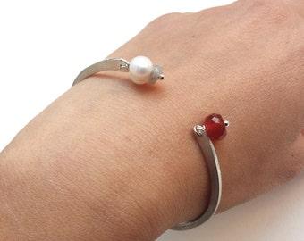 silver cuff,pearl, orange carnelian, semi precious stone, hammered, add a personal message