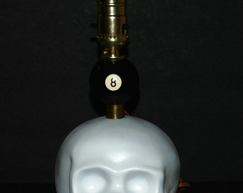 Unique Handcrafted Skull Pool Ball Table or desk Lamp