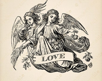 Instant download printable ANGEL LOVE digital clipart - Valentine/Christmas graphics - Vintage Art Print - fabric transfer image to iron on