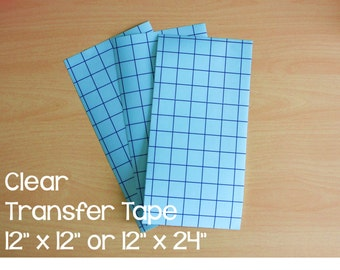 """10 Blue Grid Line Clear Transfer Tape / Paper; 12"""" x 12"""" or 12"""" x 24""""; Perfect for use with Crafting Adhesive Vinyl"""