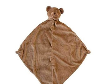 Monogrammed Brown Bear Lovie / Angel Dear / Personalized Blankie / Security Blanket / Baby Blankie Gift / Animal Blankie