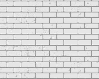 White Brick Wall Backdrop-Handdrawn Brick wall for photography - Clean white brick wall photo prop XT-4881