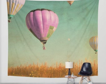 hot air baloons wall tapestry, large size wall art, whimsy, whimsical tapestry, hot air balloons, surreal, pink green orange yellow