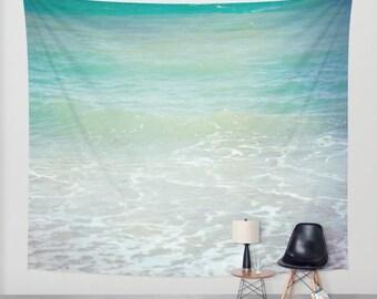 Ocean Tapestry. Home Decor Photo tapestry, ocean tapestry, beach house decor, sea tapestry, blue mint aquamarine
