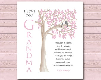 Grandma Gift - Gift from Grandchildren - Can Be Personalized With We or I Love you Grandma With Grandchildren's Names - Any Color Available