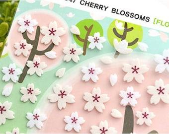 Sakura felt sticker,cherry blossom sticker,pink flower sticker,felt sticker,craft supply, scrapbook supply,diary stickers