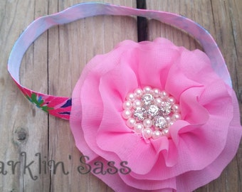 Pink Flower Headband. Flower Headband. Flower Girl, Baby Headband, Hair Accessories, Pink, Pearl, Rhinestone, Sparkle Headband, Photo Prop