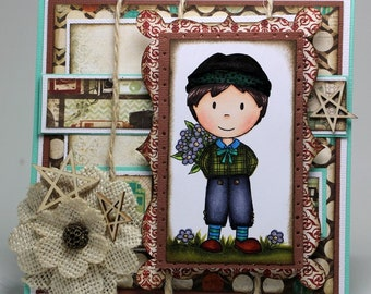 Young boy with flowers bouquet card