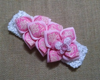 Kanzashi Headband, Baby Girl Headband, Butterfly Headband, Baby Hair Accessory, Pink Headband, Infant Headband, Baby Headband