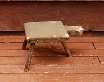 Primitive 3 Leg Wooden Stool, Vintage Milking Stool, Covered Bench, Old Padded Footrest