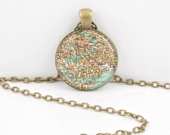 Venice Italy Grand Canal Antique Map Traveler Vintage Map  Geography Gift  Pendant Necklace or Key Ring
