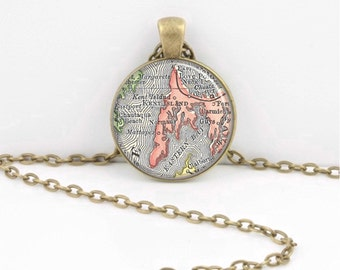 Kent Island Maryland Queen Anne's County Map Vintage Map Geography Gift  Pendant Necklace or Key Ring