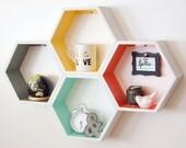 Medium Honeycomb // Hexagon Shelves - Set of 4 - Custom to your room // Personalized