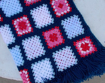 Granny Squares Afghan, Granny Squares Throw, Americana Decor, Red White & Blue, Fringed, Patriotic Blanket