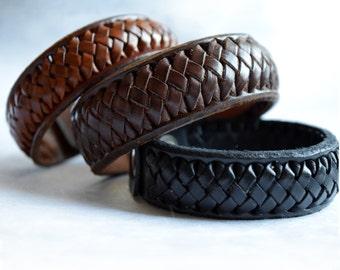 Braided Leather bracelet. Men's bracelet, women's bracelet. Laced 100% handmade. Geniune Leather from Spain