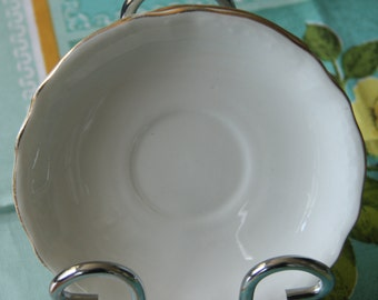 "Vintage Bone china , ""white fluted""   Tuscan China   Made in England Saucers (2)"
