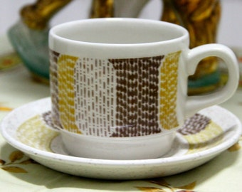 Vintage 1970's  Stoneware  Cup and Saucer   -Biltons of England Staffordshire - great 70s Geometric design