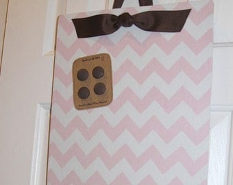"Magnetic Bulletin Board (18"" x 12"") Magnet Board, Nursery Light pink chevron magnet board, Baby pink & brown decor, Girls room, Baby's room"