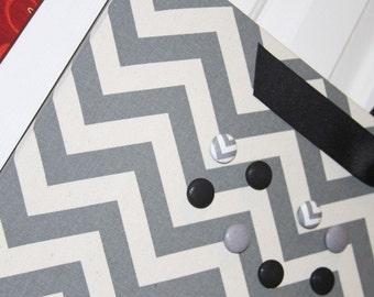 "Fabric Magnet Board (24"" x 18"")  Large Gray Chevron Photo Display Board, Organization, Magnetic Board, Wedding photo display Bulletin Board"