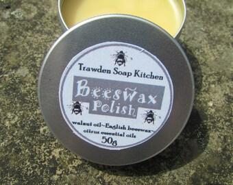 Beeswax Polish, Wood Polish, Wood treatment, Shoe Polish, Chemical free, Natural Product, Walnut Oil, Essential Oils, 50g tin, Lancashire UK