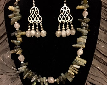 Green and Gray Quartz Necklace and Earring Set