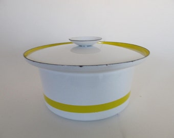 Servex of Sweden White and Yellow Enamel Pot with Lid