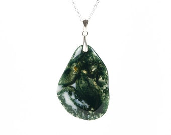 Green Moss Agate Necklace, Gemstone Sterling Silver Necklace