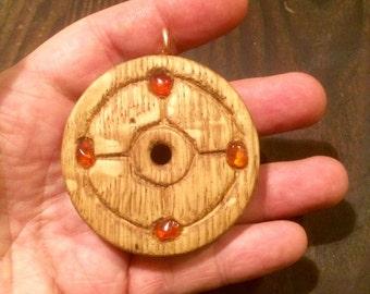 mythic norse germanic sunwheel pendant  solar cross - asatru viking odin  rune amulet