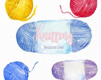 Knitting watercolor clip art, hand drawn. yarn, needles,  crochet hook, knitwork.