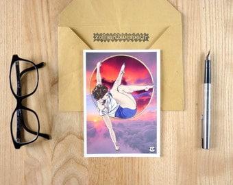 "Postcard ""Zoélie"", sunset, sunrise, aerial hoop, aerial circle, circus, purple, pink, indigo, lavender"