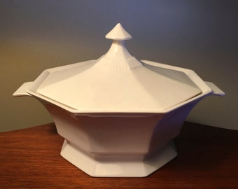 Independence Ironstone white octagon shape covered serving bowl by Interpace - made in Japan