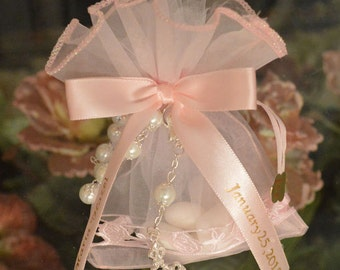 First Holy Communion Baptism favors Confirmation favor bag almond favor with rosary Bomboniere Made in Italy