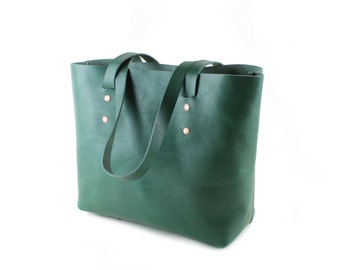 Green leather tote bag, Veg tanned leather tote bag, Large leather tote bag, Copper Rivets & two internal pockets