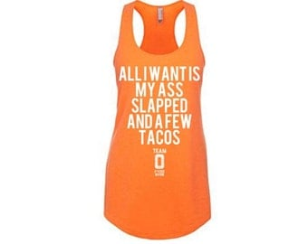 A FEW TACOS Limited Edition Womens Racerbcak Tank Top. Neon Heather Orange