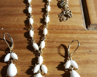 Milk glass Y necklace and drop earrings. Designed by NR .wedding set,prom jewellery.Birthday gift.